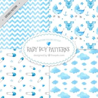 Pack de patrones decorativos de bienvenida de bebé de acuarela