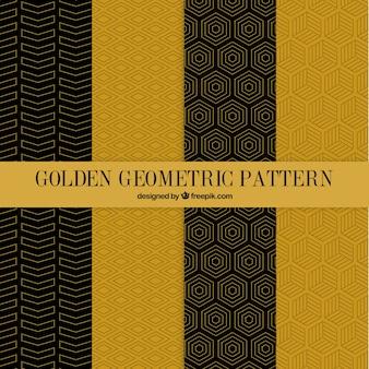 Pack de patrones dorados geométricos