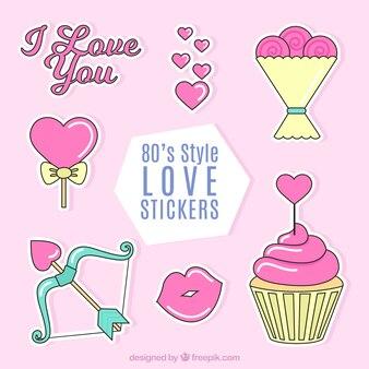 Pack de pegatinas de amor geniales en diseño plano