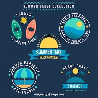Pack de pegatinas de verano en diseño plano