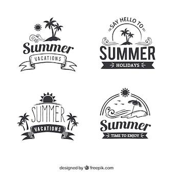 Pack de pegatinas de verano en estilo retro
