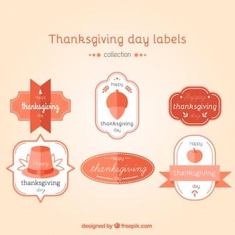 Pack de pegatinas del día de acción de gracias en diseño plano