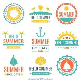 Pack de pegatinas planas de verano y navegación