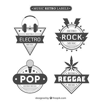 Pack de pegatinas retro de estilos musicales