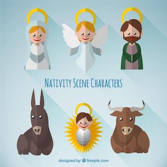 Pack de personajes adorables de escena navideña