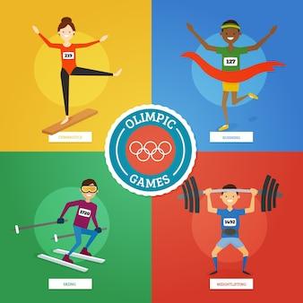 Pack de personajes de deporte preparados para los juegos olímpicos