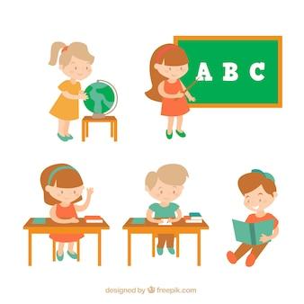 Pack de personajes infantiles estudiando