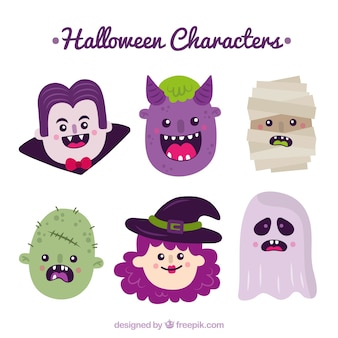 Pack de personajes simpáticos de halloween dibujados a mano