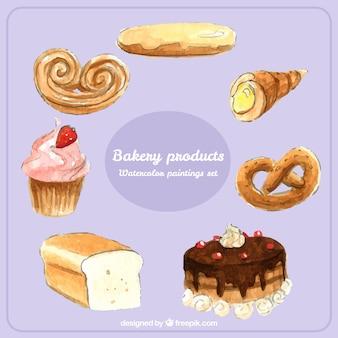 Pack de productos de panadería pintados a mano