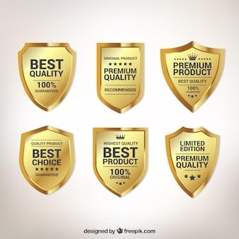 Pack de seis escudos de calidad dorados