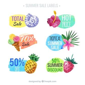 Pack de seis etiquetas de rebajas de verano en estilo de acuarela