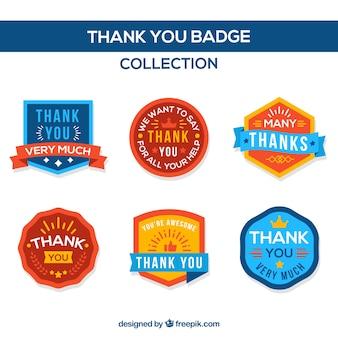 Pack de seis insignias de agradecimiento