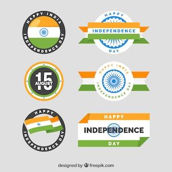 Pack de seis insignias del día de la independencia de india