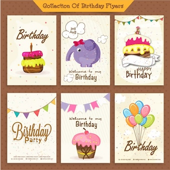 Pack de seis invitaciones de cumpleaños bonitas