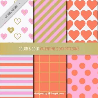 Pack de seis patrones del día de san valentín con detalles dorados