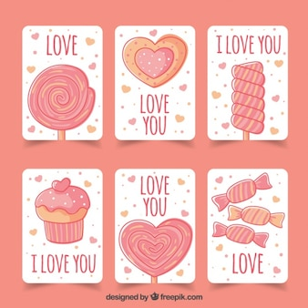 Pack de seis tarjetas de amor con dulces