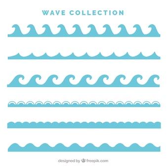 Pack de seis tipos de olas en estilo plano