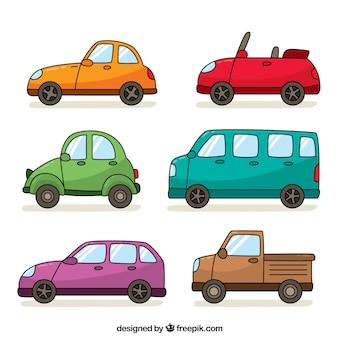 Pack de seis vehículos dibujados a mano