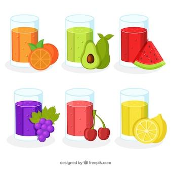 Pack de seis zumos de fruta en diseño plano