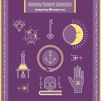 Pack de signos y símbolos de alquimia dibujados a mano