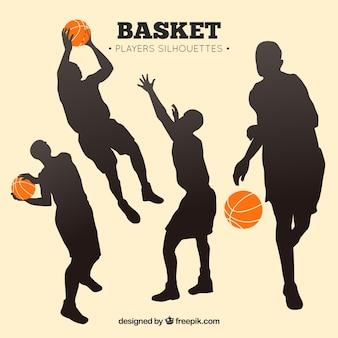 Pack de siluetas de jugadores de baloncesto