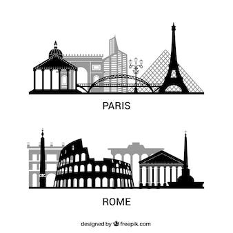 Pack de siluetas de París y Roma