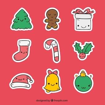 Pack de simpáticas pegatinas navideñas con caras dibujadas a mano