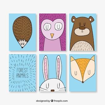 Pack de simpáticas tarjetas de animales dibujados a mano