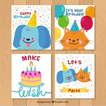 Pack de simpáticas tarjetas de cumpleaños