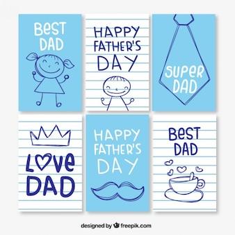 Pack de simpáticas tarjetas del día del padre azules y de rayas