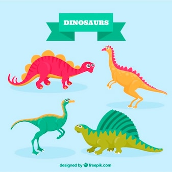 Pack de simpáticos dinosaurios de colores