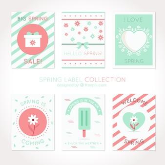Pack de tarjetas bonitas de primavera en colores pastel