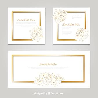 Pack de tarjetas de boda con detalles florales dorados