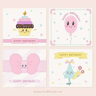 Pack de tarjetas de cumpleaños adorables