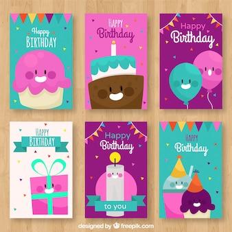 Pack de tarjetas de cumpleaños con simpáticos personajes