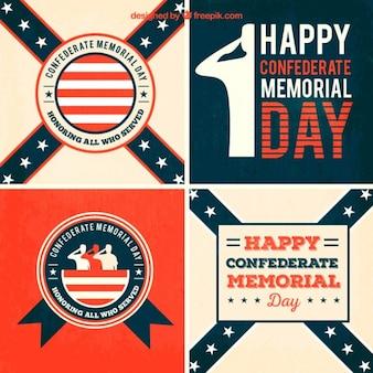 Pack de tarjetas de feliz día de los héroes confederados