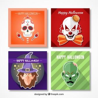 Pack de tarjetas de halloween con espeluznantes personajes