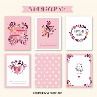 Pack de tarjetas de san valentín bonitas florales