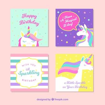 Pack de tarjetas de unicornio