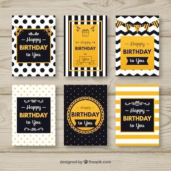 Pack de tarjetas elegantes abstractas de cumpleaños