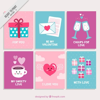 Pack de tarjetas simpáticas de san valentín