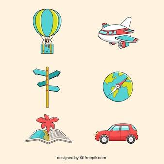 Pack de transportes y elementos de viaje dibujados a mano