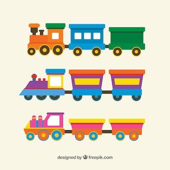 Pack de trenes de juguetes en diseño plano