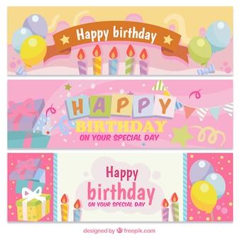 Pack de tres banners de cumpleaños