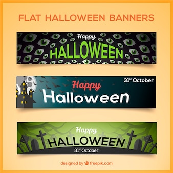 Pack de tres banners planos de halloween