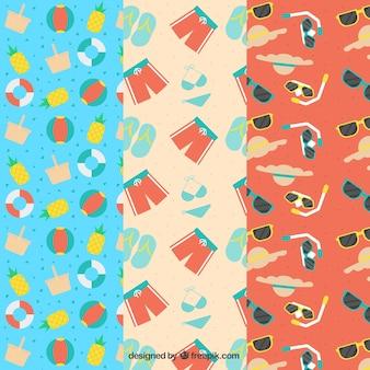 Pack de tres patrones con artículos veraniegos en diseño plano