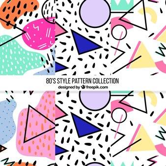 Pack de tres patrones modernos con formas de colores