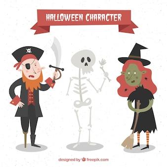 Pack de tres personajes de halloween dibujados a mano