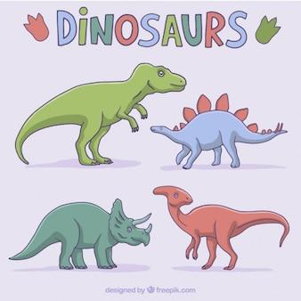 Pack de varios dinosaurios de colores dibujados a mano