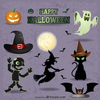 Pack de vectores simpáticos de Halloween